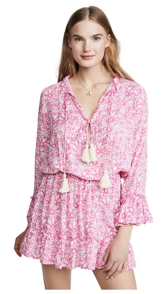coolchange monica tunic dress in white & flamingo