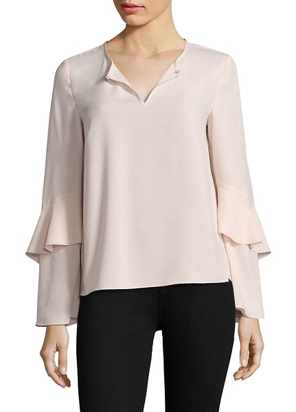 Cooper & Ella agatha tiered sleeve blouse in pale pink - Tiered sleeves elevate this appealing blouse. Roundneck....