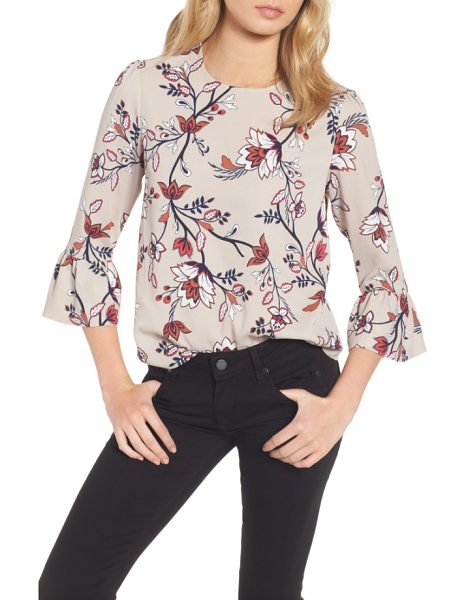 Cooper & Ella greta bell sleeve blouse in sand floral print - An ornate botanical print covers this feminine ruffled...