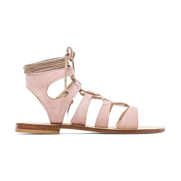 CORNETTI Recommone gladiator sandals in blush - Suede upper with leather sole. Lace-up front. CORR-WZ1....