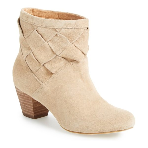 Corso Como benster bootie in nude split suede - A woven shaft and chunky stacked heel add to the...