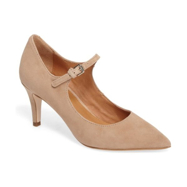 Corso Como coy pointy toe pump in dark nude suede - A slim mary jane strap secures a pointed-toe pump...