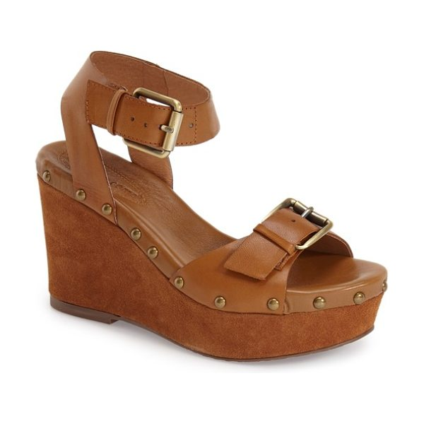 Corso Como deli sandal in tan brushed leather - Brushed goldtone hardware and a suede-covered wedge...
