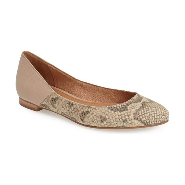Corso Como morrison pointy toe flat in natural vintage snake - Soft, supple leather defines a pointy-toe flat designed...