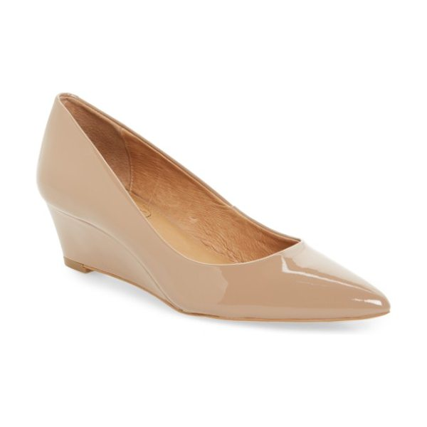 Corso Como cc corso como nelly pointy toe wedge pump in dark nude patent - A slim wedge seamlessly lifts a poised pointy-toe pump...