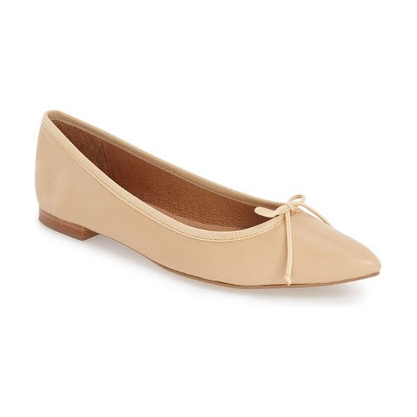 Corso Como 'recital' pointy toe flat in nude leather - Smooth leather and a dainty bow refine a slim, versatile...
