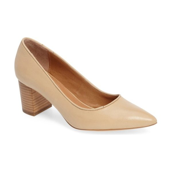 Corso Como 'regina' pump in nude leather - A pointy toe and stacked block heel elevate a versatile...