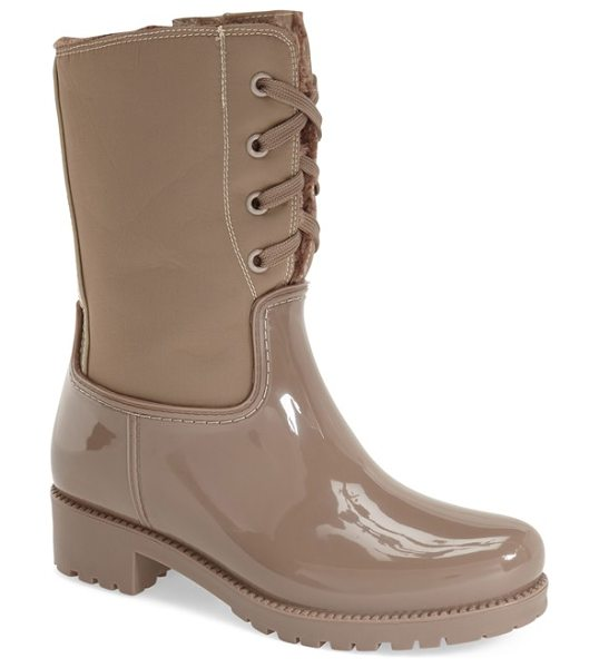 Corso Como treck rain boot in taupe - Lace-up styling and a fuzzy faux-fur lining further the...