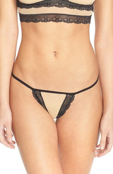 Cosabella bisou mesh g-string in nude/ black - Dainty black lace with scalloped edges trims the peachy...