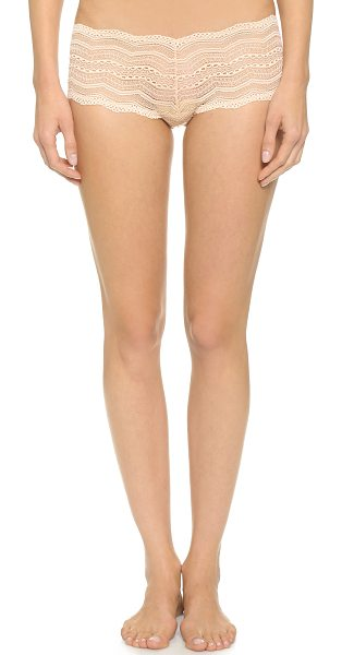 Cosabella ceylon low rise boy shorts in sand - These stretch-lace boy shorts have scalloped edges....