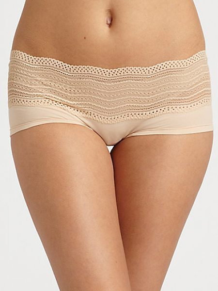 Cosabella dolce boyshorts in blush - Delicate soft stretch bands of chevron lace and fine...