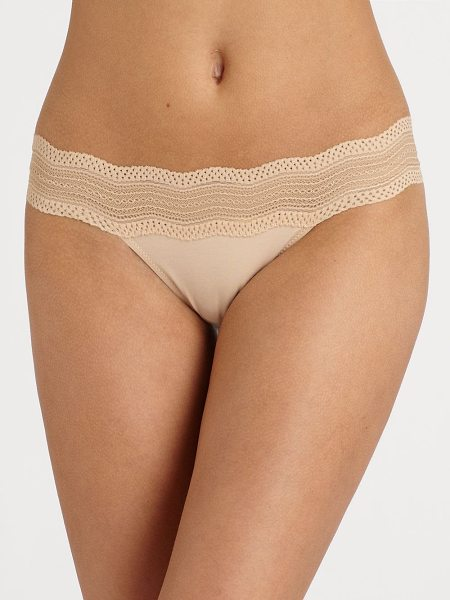COSABELLA dolce lace thong - Elegant soft stretch bands of Italian chevron lace adorn...