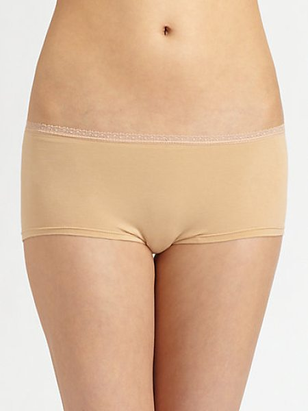 Cosabella Lace-trimmed low-rise hot pants in nude - Smooth and shapely, in lightweight pima cotton stretch...