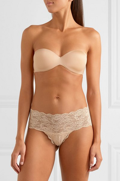 Cosabella matte-satin and stretch-mesh strapless bra in neutral - Cosabella's beige bra has been made in Italy with...