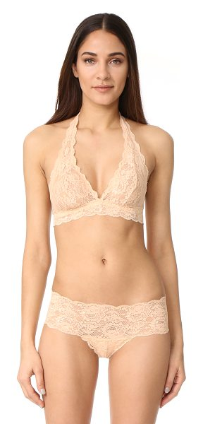 Cosabella never say never hippie halter bra in blush - A Cosabella bralette composed of scalloped lace. Elastic...