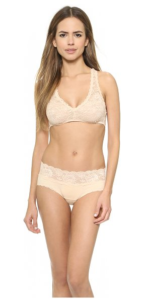 Cosabella never say never racer back bra in blush - A racer back gives a stretch-lace bra a sporty profile,...