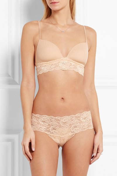 Cosabella never say never soire lace-trimmed mesh soft-cup bra in neutral - Cosabella's 'Never Say Never Soire' bra is one of the...