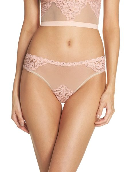 Cosabella peony high leg brazilian panties in mauve/ almond - Sheer mesh and lace panels adds pretty appeal to panties...