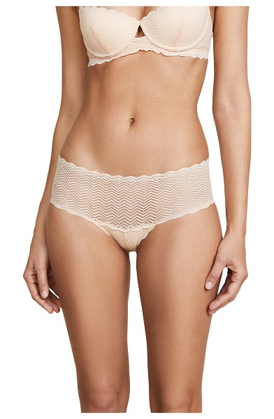 Cosabella sweet treats geo hot pants in blush - Cheeky zigzag lace Cosabella panties with scalloped...