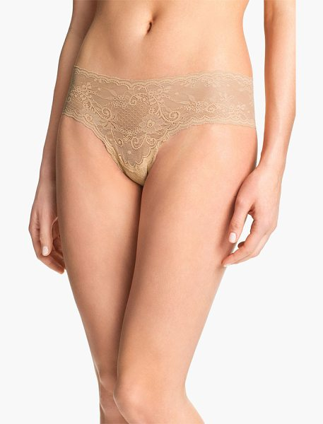 Cosabella 'trenta' lace briefs in nude - A fine stretchy lace brief is designed to lay flat and...