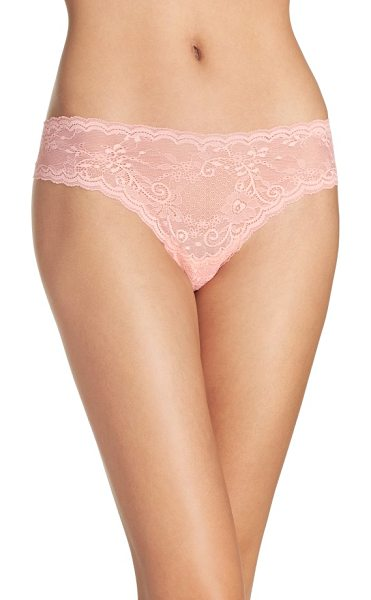 Cosabella 'trenta' low rise lace thong in peach nectar