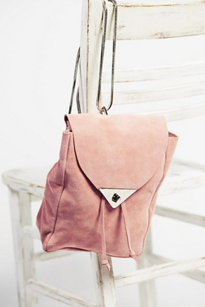 Costella Handbags Jess suede backpack in blush - Small and chic suede backpack with removable metal chain...