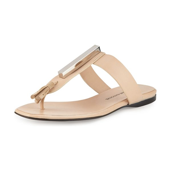 Costume National Embellished Thong Leather Sandal in natural