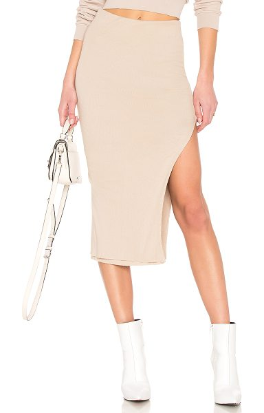 "COTTON CITIZEN Melbourne Midi Skirt With Slit in nude - ""46% cotton 46% modal 8% spandex. Fully lined...."