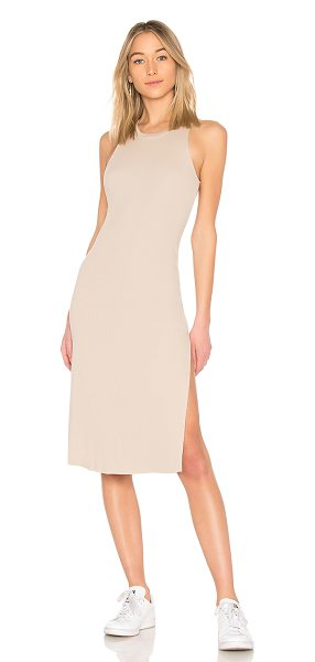 COTTON CITIZEN Melbourne Tank Midi Dress With Slit in nude - 50% supima cotton 50% micro modal. Fully lined. Rib knit...