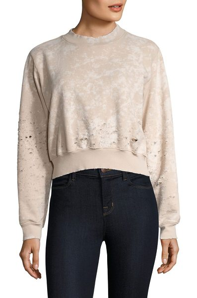 COTTON CITIZEN milan cropped crewneck sweatshirt in sanddust - Fashionable cropped silhouette with distressed details....