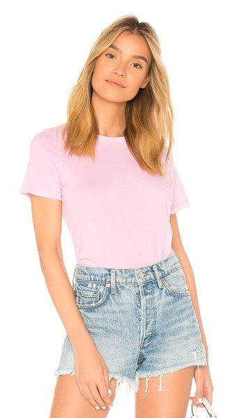 COTTON CITIZEN The Classic Crew Tee in pink - 100% supima cotton. Slub knit fabric. Distressed edges....