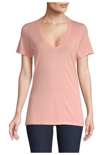 COTTON CITIZEN the classic v-neck tee in blush - Cotton-blend tee in minimalistic design.V-neck. Short...