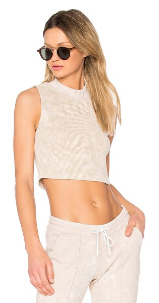 COTTON CITIZEN The Monaco Crop Tank in beige - 100% cotton. Distressed edges. Thermal knit fabric....