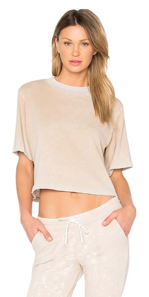 COTTON CITIZEN The Tokyo Crop Tee in sand - 100% cotton. Jersey knit fabric. Intentional fading...
