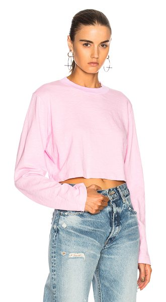 COTTON CITIZEN Tokyo Long Sleeve Crop Tee in pink - 100% cotton.  Made in USA.  Machine wash.  Slub fabric. ...