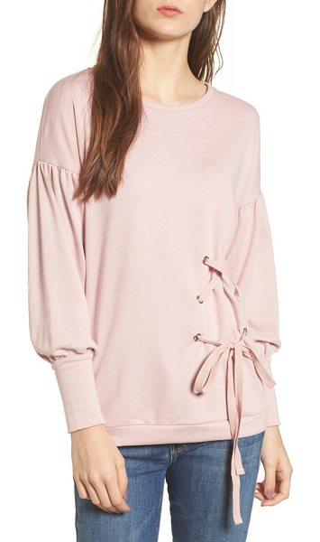 Cotton Emporium balloon sleeve tunic sweater in pink - Voluminous balloon sleeves and corset-inspired lacing...