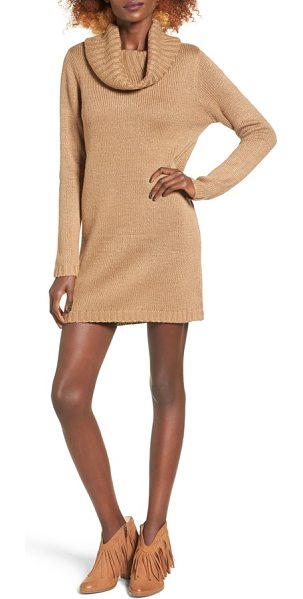 Cotton Emporium turtleneck sweater dress in camel - A beautifully draped turtleneck tops this soft...