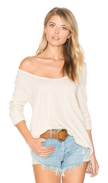 CP Shades Gia Long Sleeve Tee in natural stripe - 86% cotton 14% linen. Slub knit intentionally pilled...