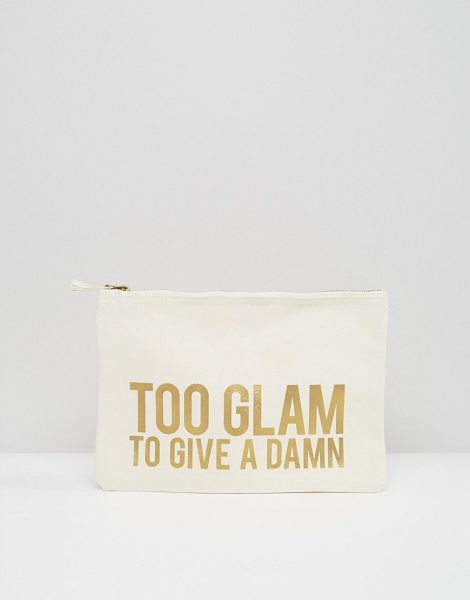 CRAZY HAUTE 'Too Glam To Give A Damn' Slogan Canvas Clutch Bag in cream - Cart by Crazy Haute, Canvas outer, Gold-tone slogan...