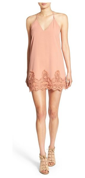 CREAM AND SUGAR t-back slipdress in blush - Ornate lace anchors the hem of a delicate slipdress...