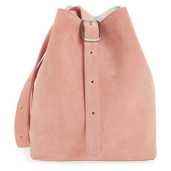 Creatures of Comfort medium apple pebbled leather bag in pink suede - Rich pebbled leather refines a chic shoulder bag crafted...