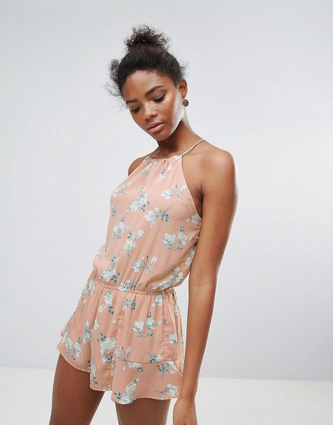 """Crescent Floral Print Halter Romper in pink - """"""""Romper by Papermoon, Lightweight woven fabric, Floral..."""