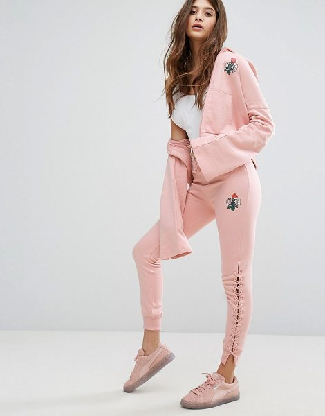 "CRIMINAL DAMAGE Lace Up Leg Sweat Pants in pink - """"Sweatpants by Criminal Damage, Loop-back sweat,..."