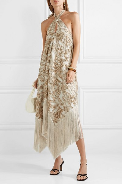 1afa8eff CULT GAIA. Ali Fringed Embroidered Fil Coupé Canvas Halterneck Maxi Dress