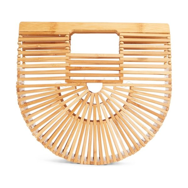 Cult Gaia mini ark handbag in beige - In a cage of lightweight bamboo, this striking clutch is...