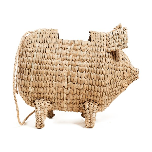 Cult Gaia the babe bag in natural - A woven straw Cult Gaia bag in a playful, pig shape....