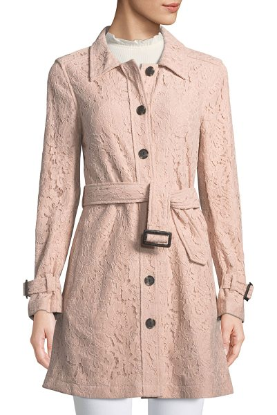 cupcakes and cashmere Auretta Button-Front Belted Lace Pea Coat in light pink - Cupcakes and Cashmere lace pea coat. Spread collar;...