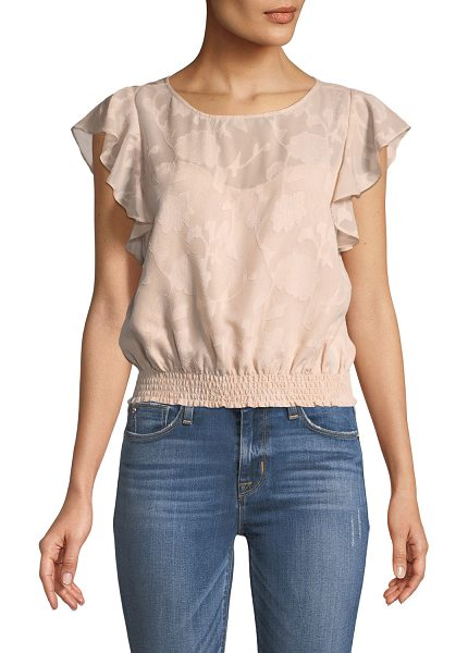 "cupcakes and cashmere Banyan Round-Neck Jacquard Top in peach - Cupcakes and Cashmere ""Banyan"" floral-jacquard top...."