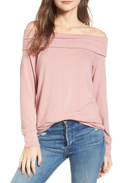 CUPCAKES AND CASHMERE brooklyn off the shoulder sweater in pink hydrangea - Show off those shoulders while you stay extra comfy in...