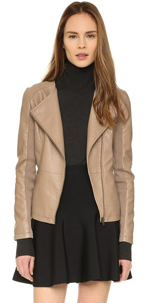 cupcakes and cashmere Caitlyn vegan leather jacket in taupe - A supple, faux leather cupcakes and cashmere jacket...